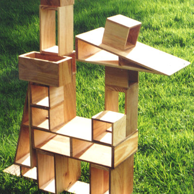 a picture of hollow blocks assembled into a tower